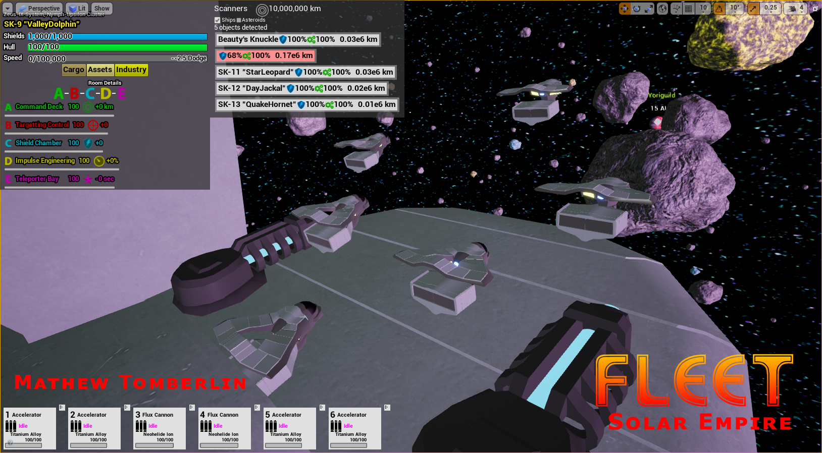 Fighter squadron taking off in front of asteroids