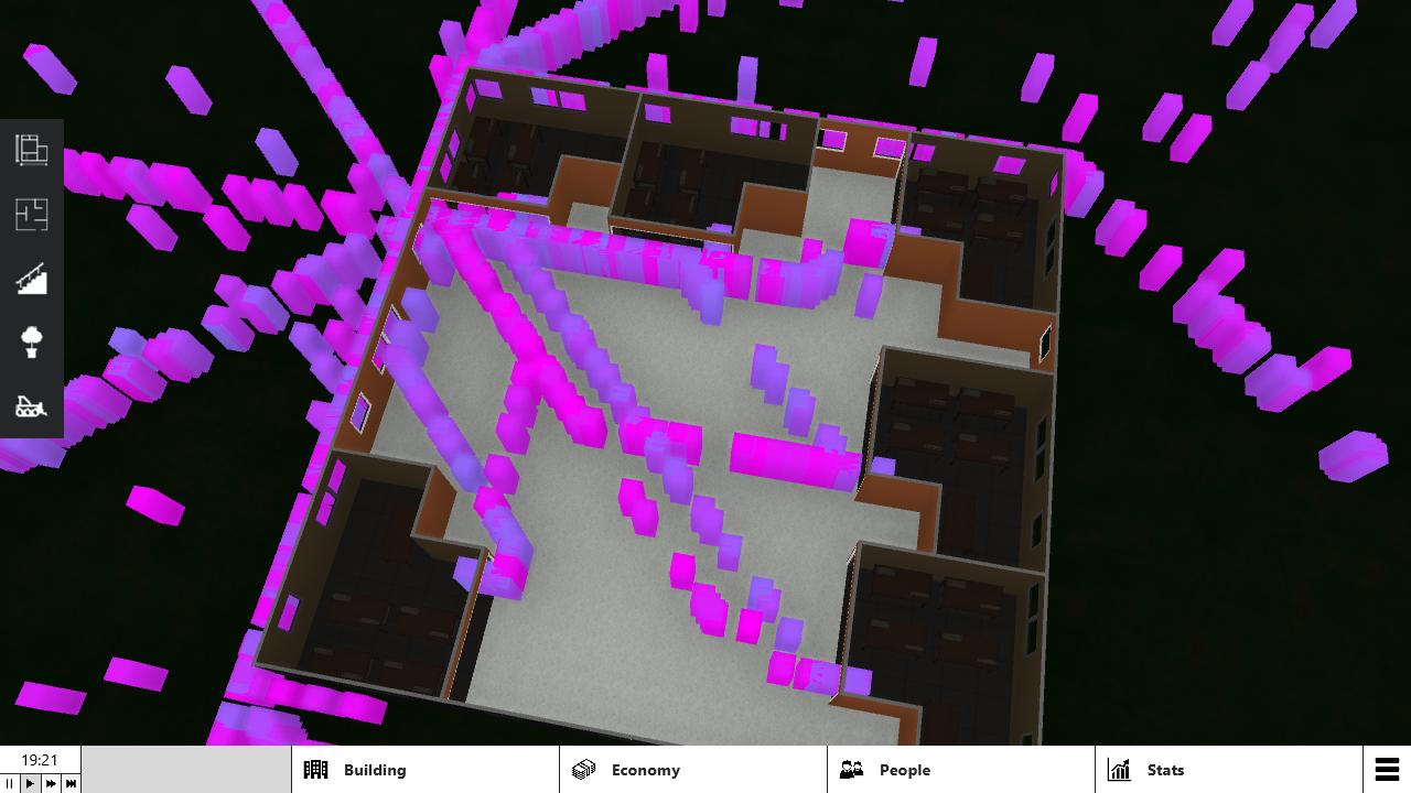 Demo of pathfinding, darker boxes are hungry and is going to food places to eat