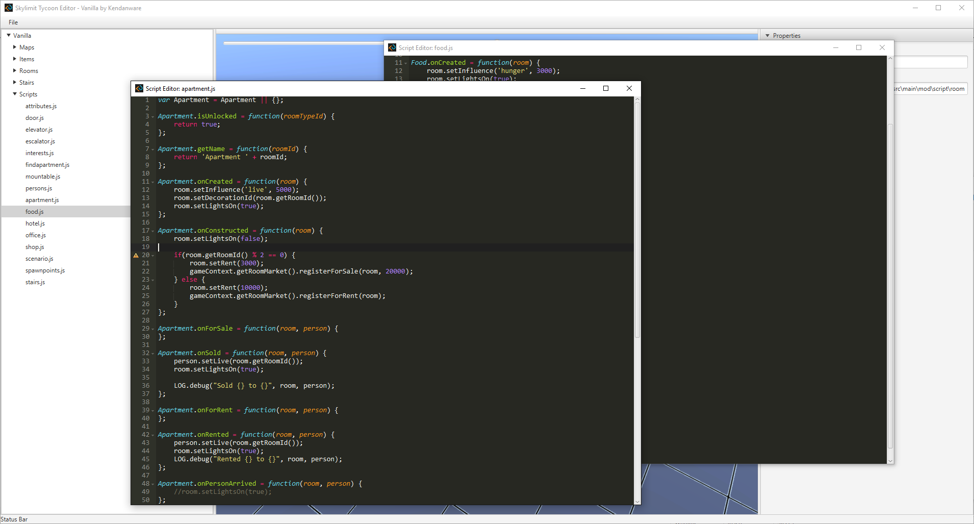 JavaScript highlighting in the mod editor