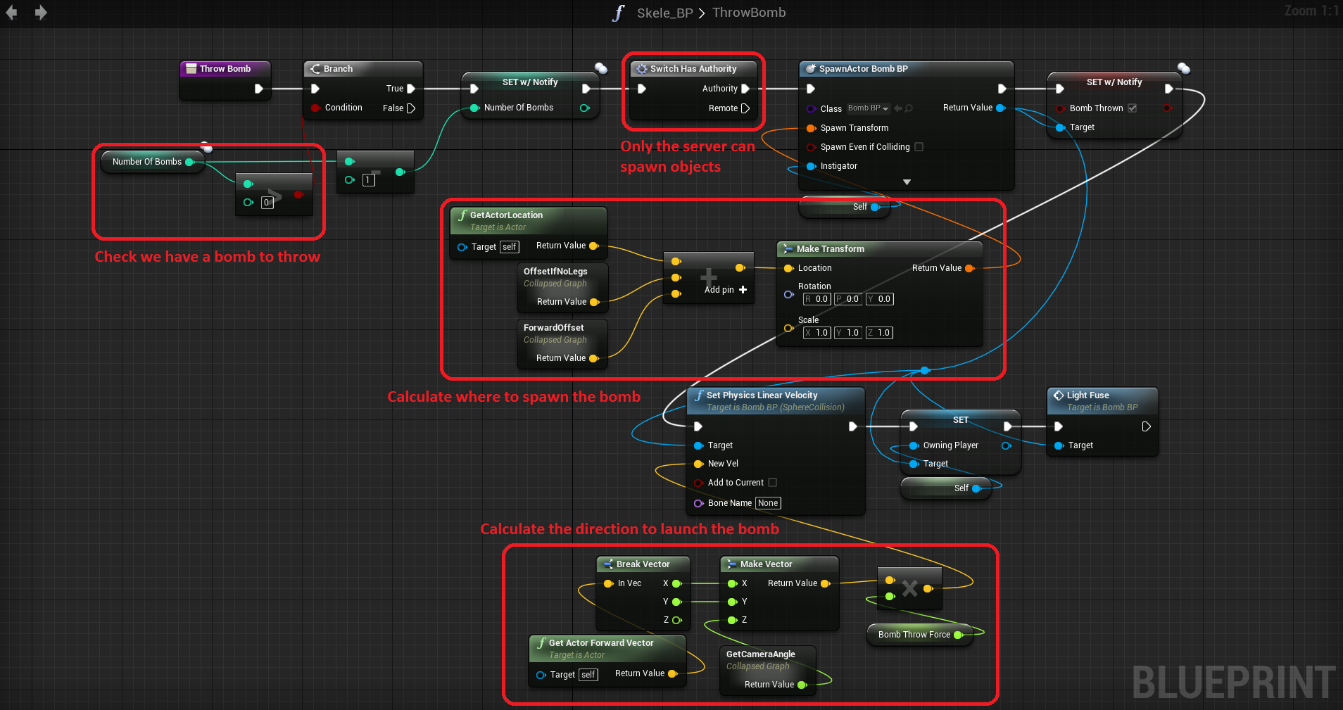 Dev diary 1 working with unreal engine 4s blueprint scripting throw bomb blueprint malvernweather Images