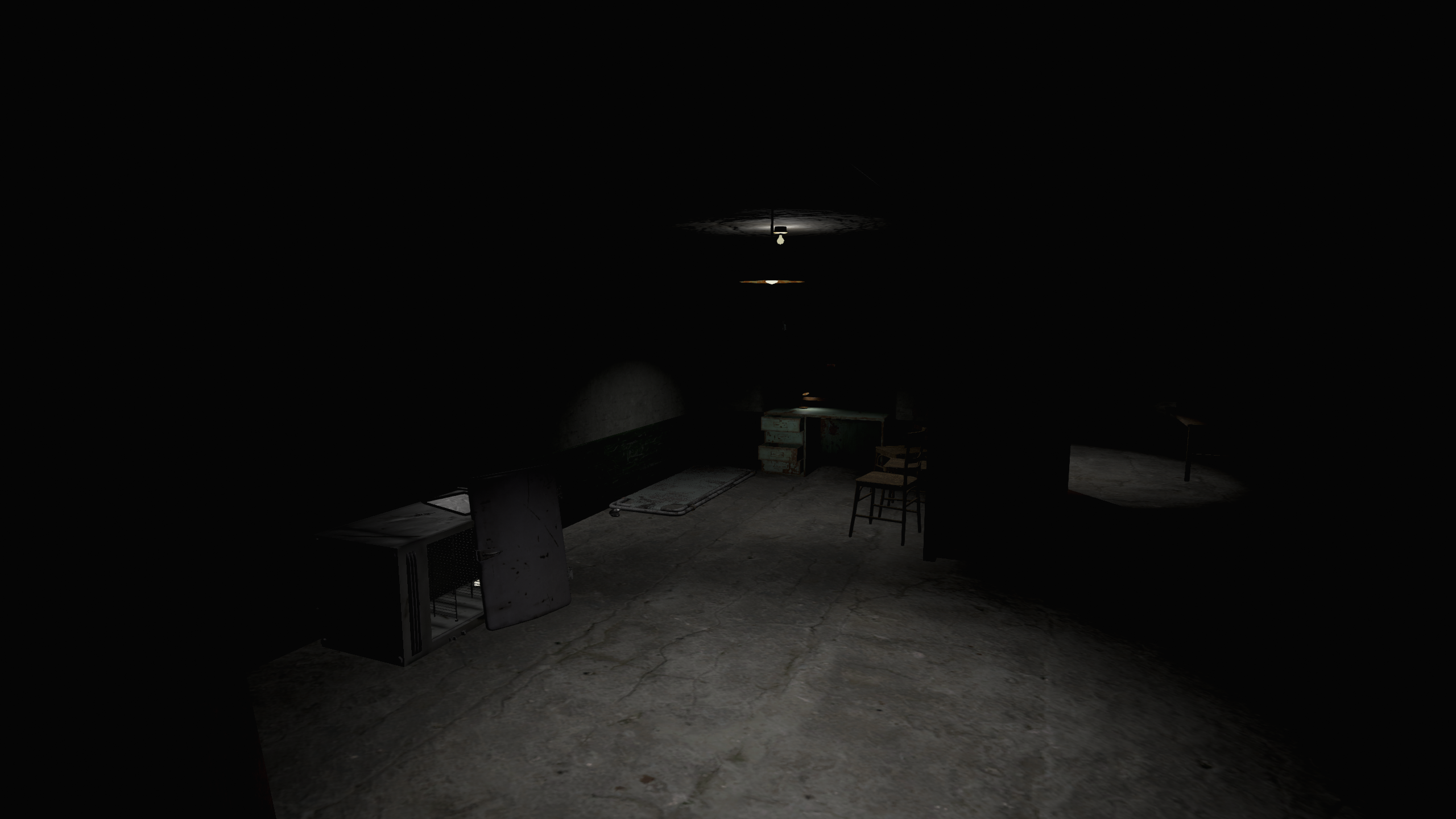 Cliche dark basement.