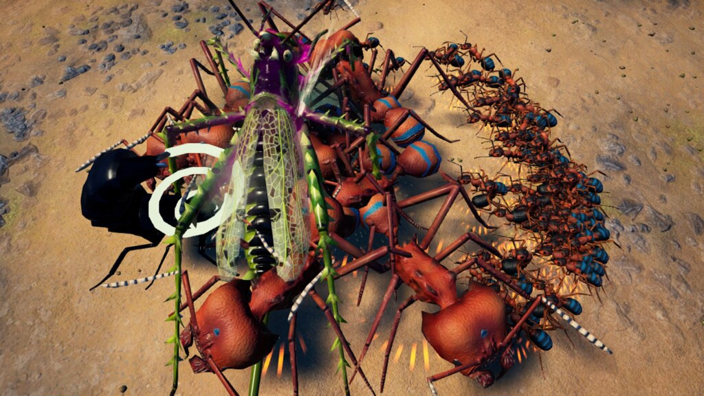 Charge! A clash of giants as Steam user Alex and Raptor's leafcutters take on a devil's coach horse and uber spiny devil cricket