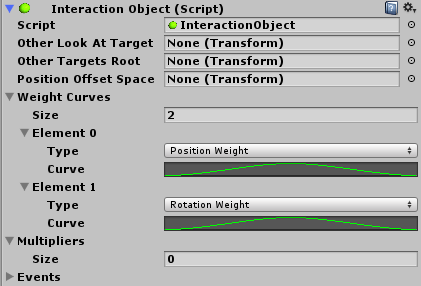 An interaction object script showing the weighting over time