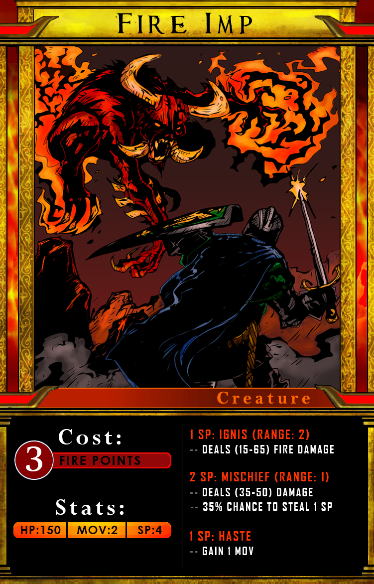 Card for first fire creature (3d model above)