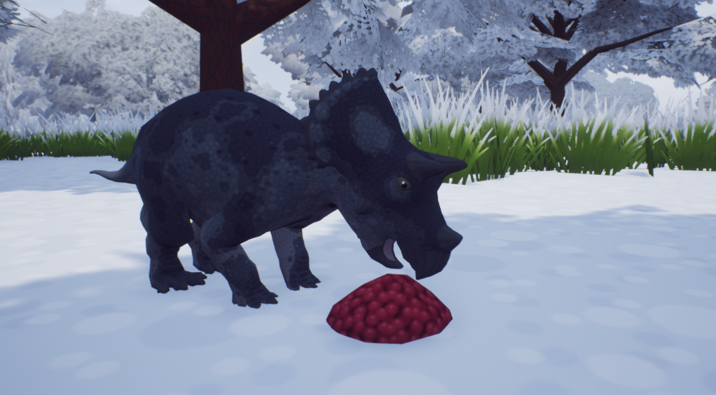 Triceratops eating berries
