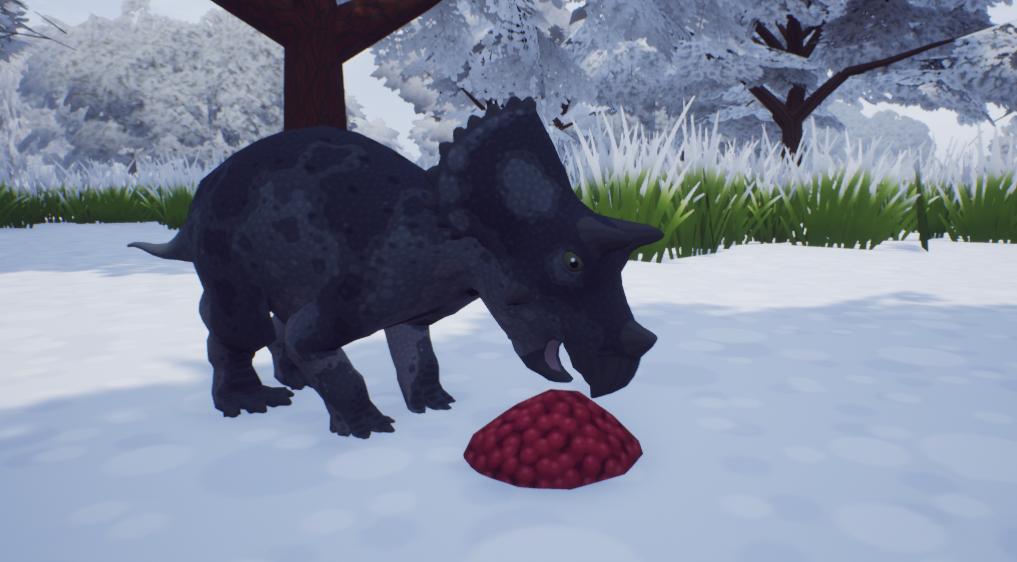 Triceratops eating berries