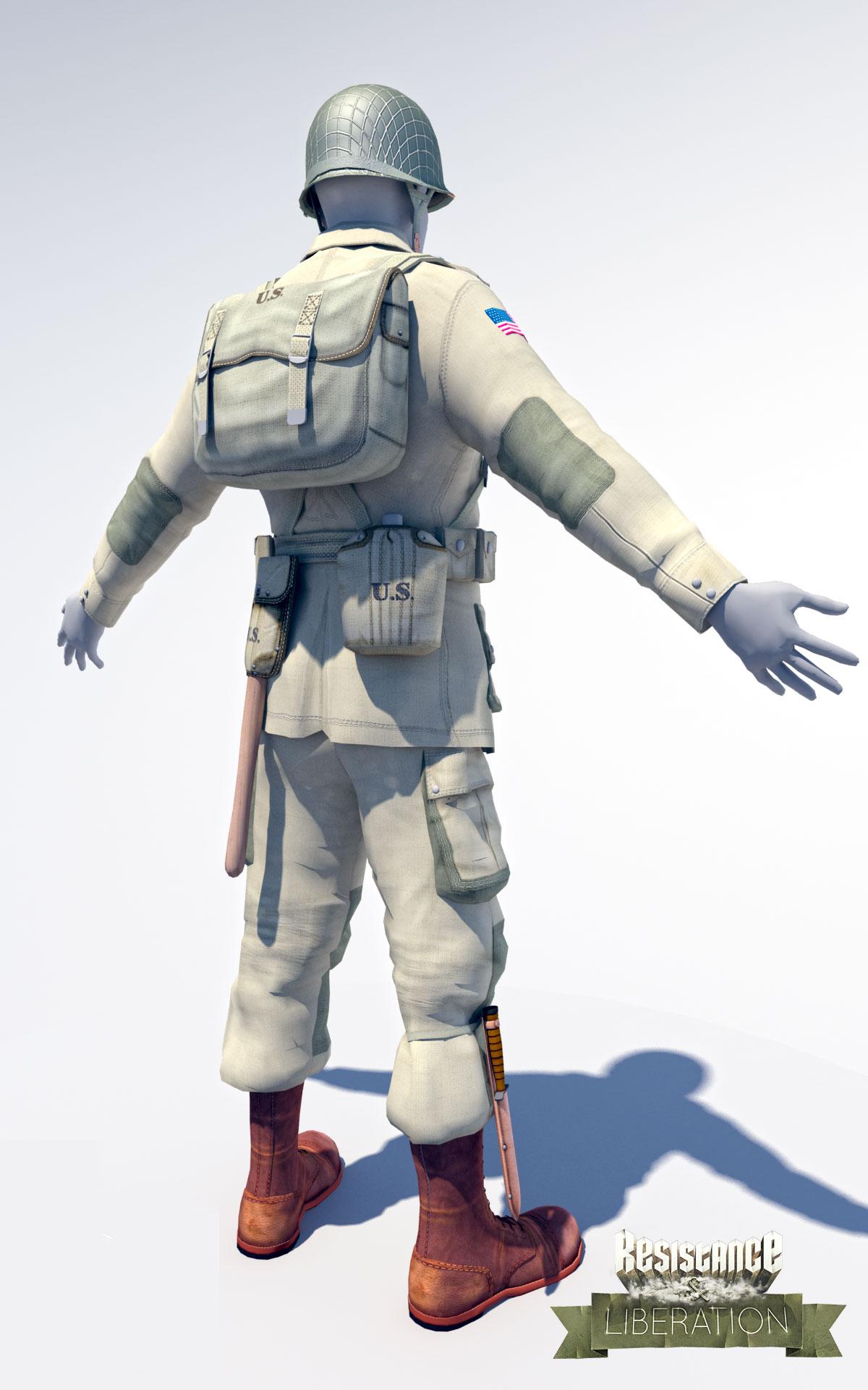 Work in progress back side American soldier by Lead Designer Stefan