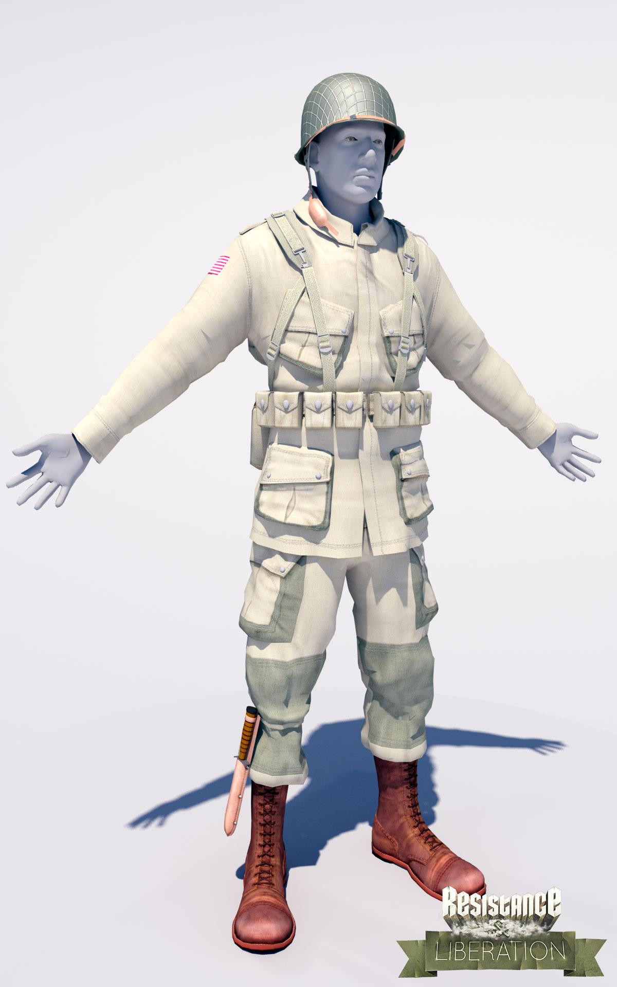 Work in progress front side American soldier by Lead Designer Stefan
