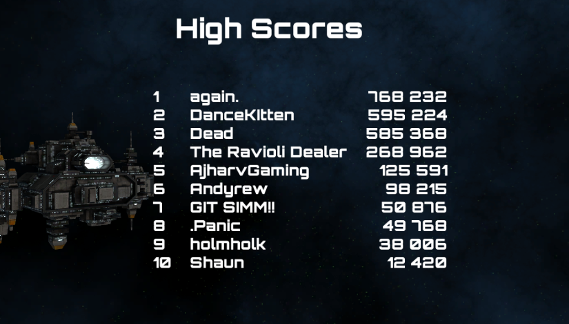An example of what the high scores screen may look like