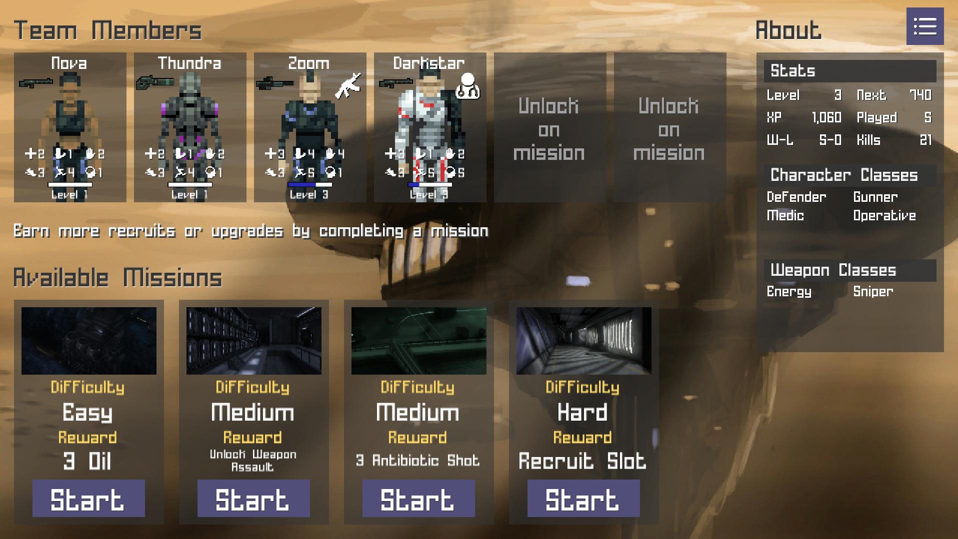 character management screen