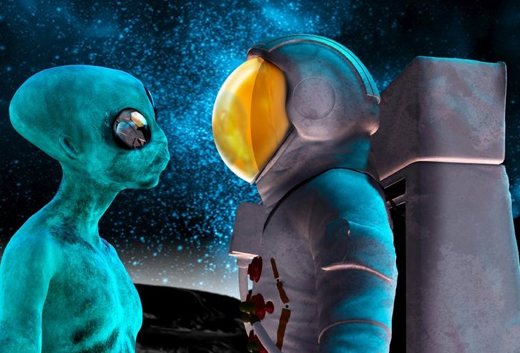 2 alien and astronaut artwork vi