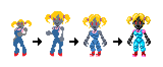Robot girl enemy evolution since the first prototypes until now
