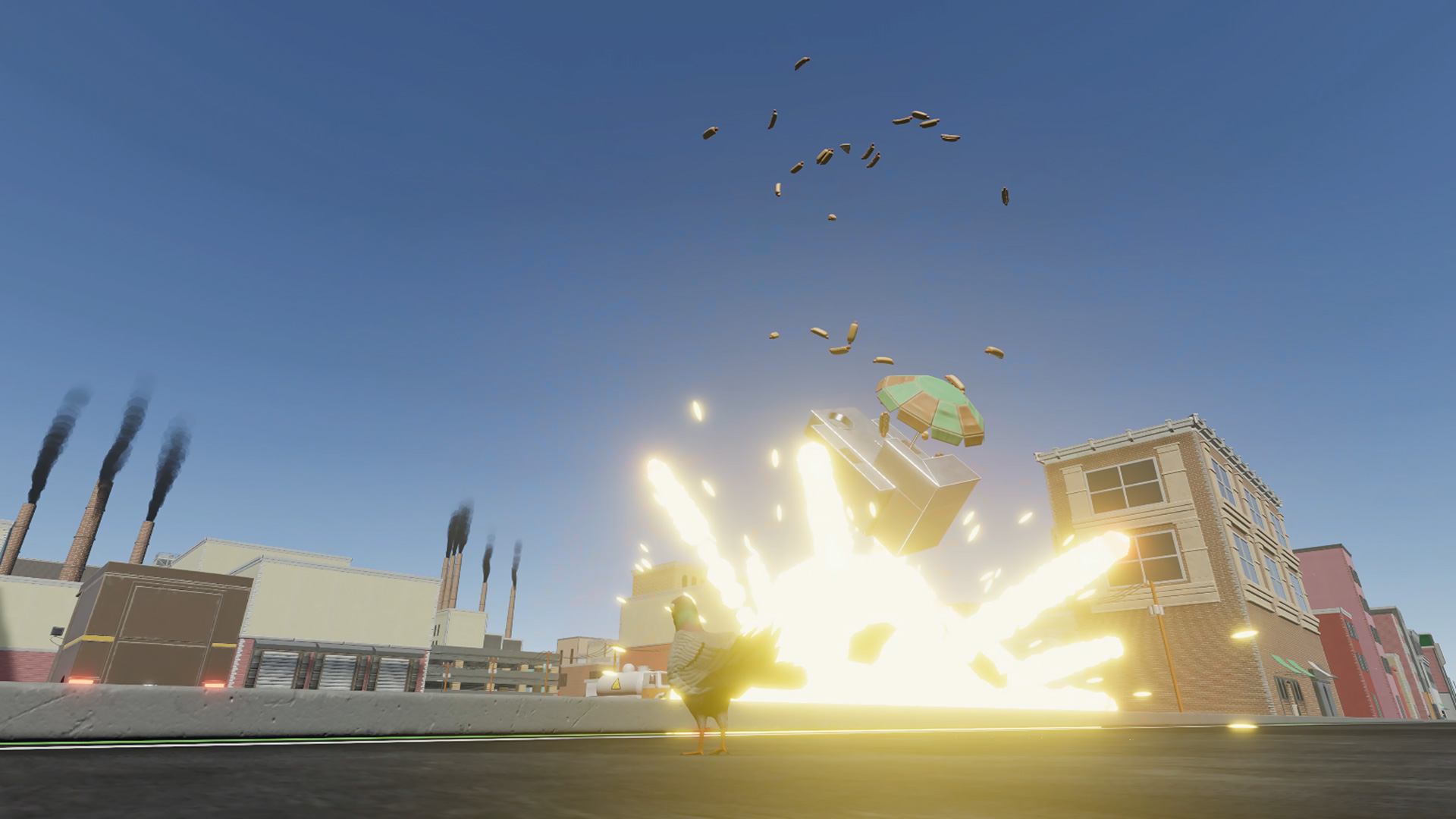 Hot dog cart explosion   Pigeon