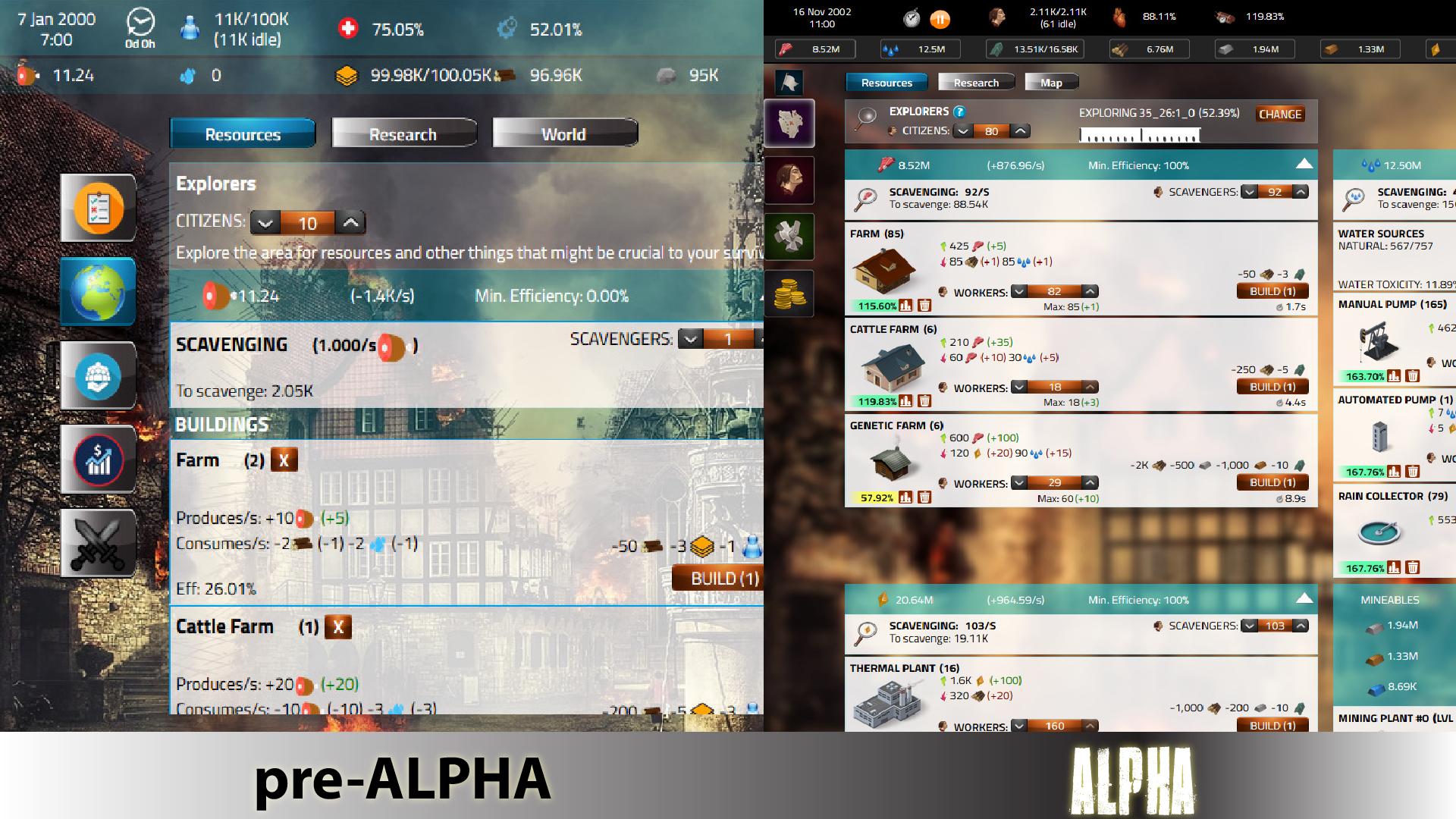 pre-alpha VS. alpha (progress)