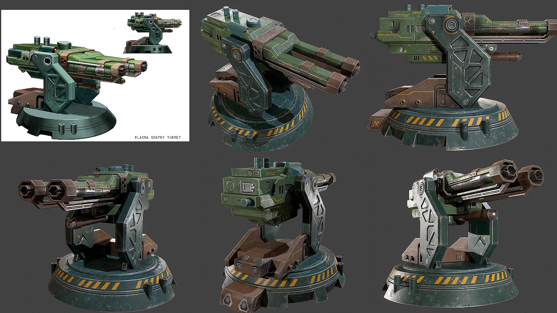 plasma sentry turret Lowpoly Tex