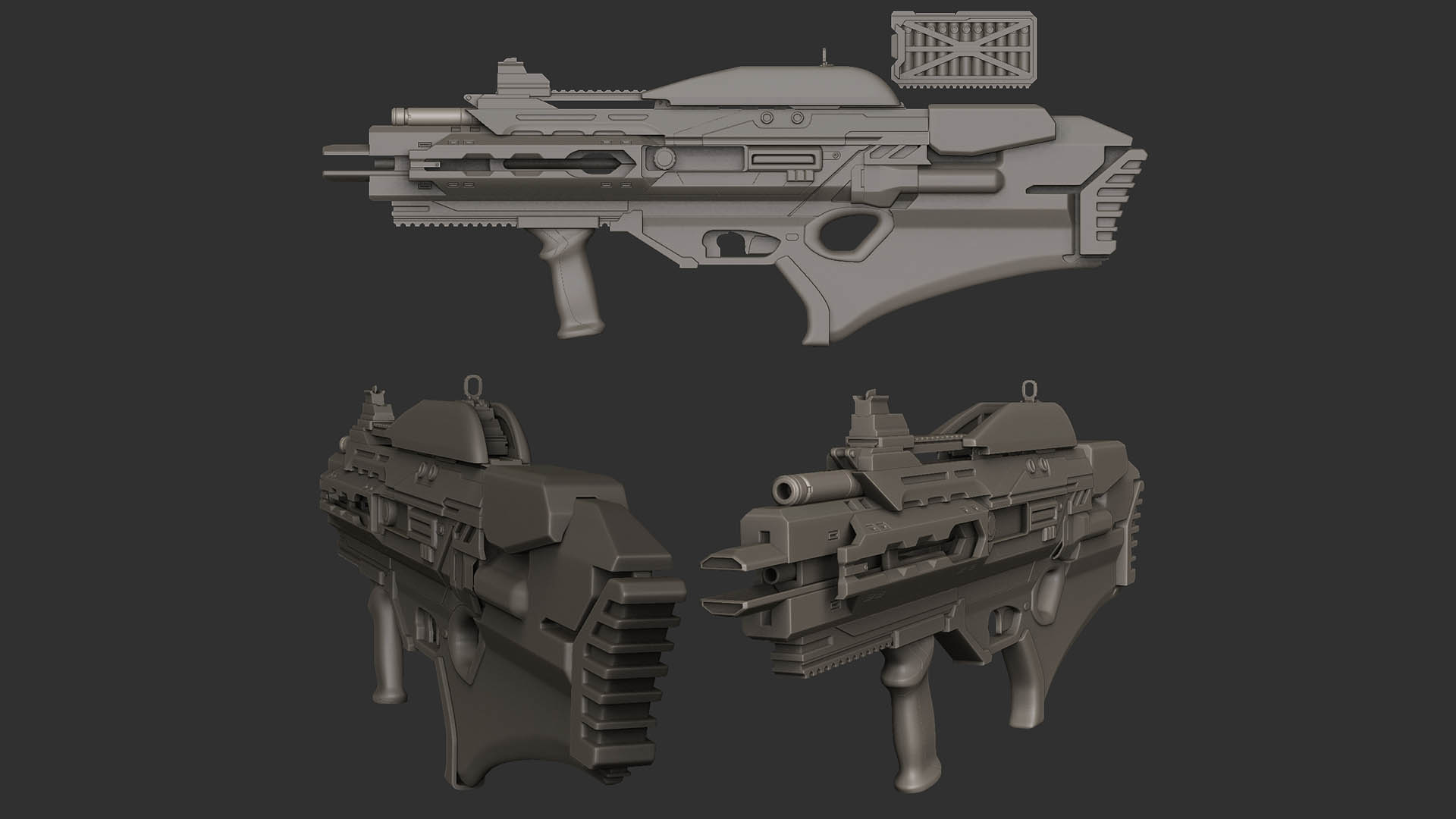 Plasma asssault rifle Hipoly WIP