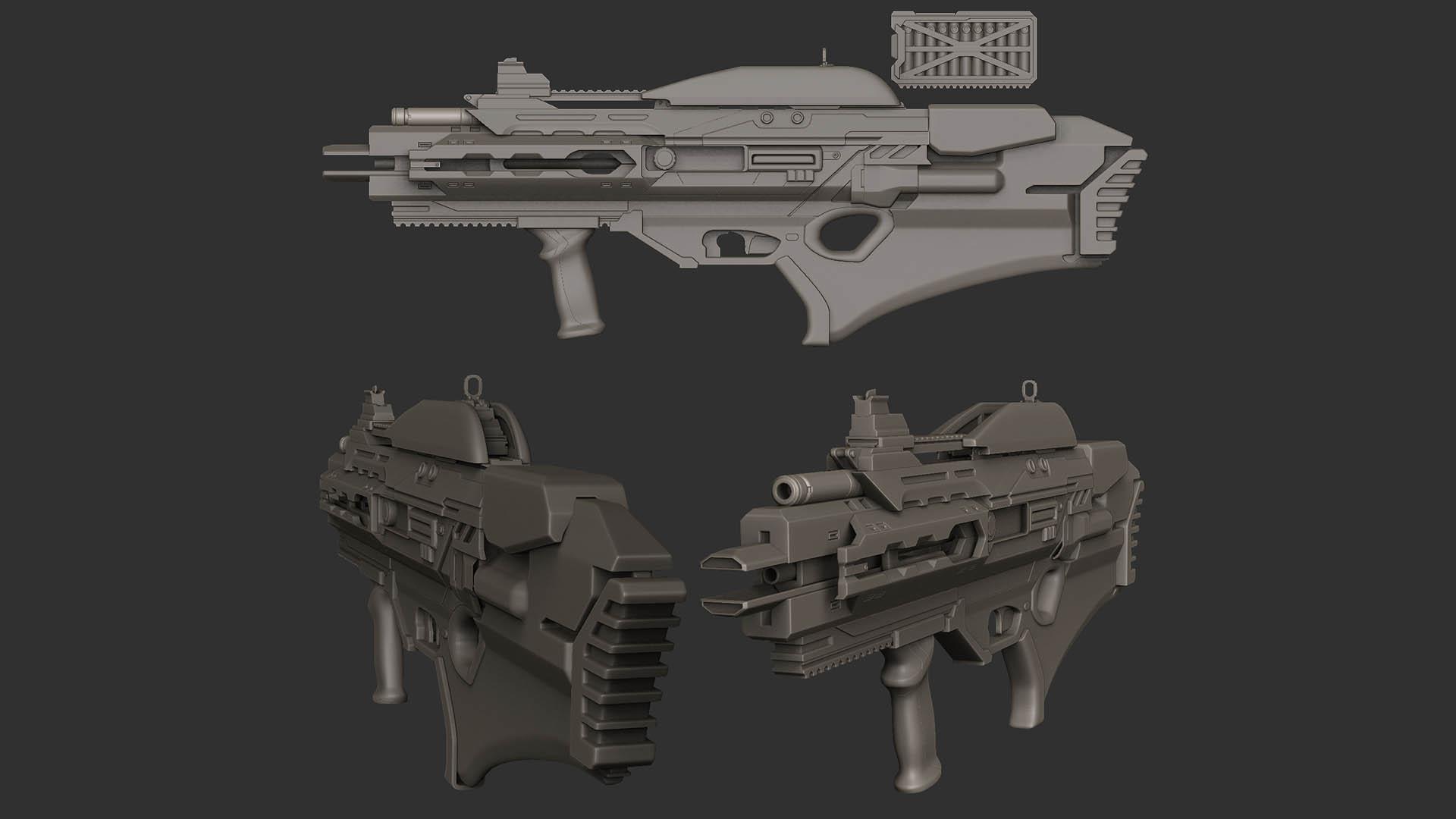 Plasma asssault rifle Hipoly WIP