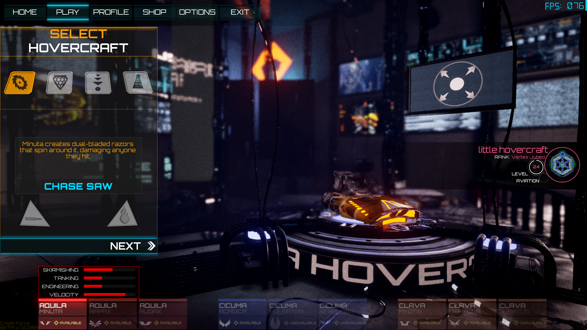 Crash Force Old Selecting Hovercraft Queue