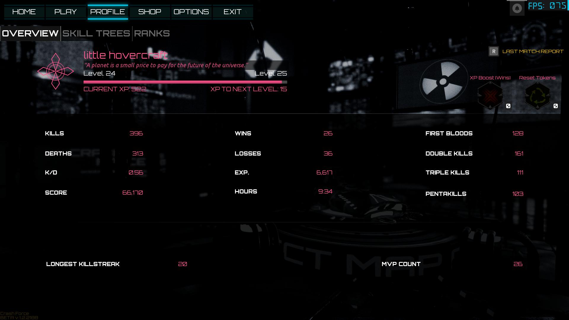 Old UI Profile tab