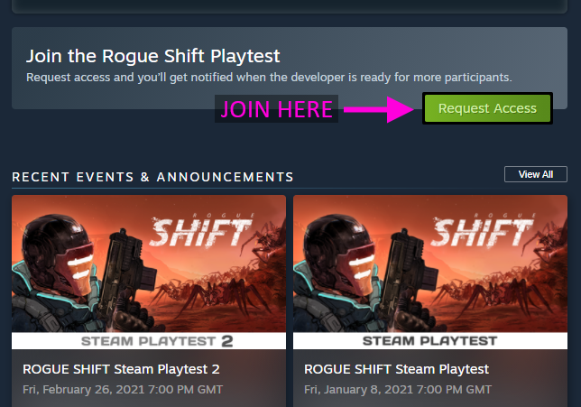 Rogue Shift Playtest Request Access