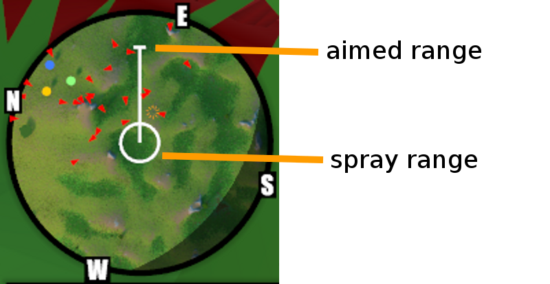 The minimap shows the range of aimed and spray attacks.