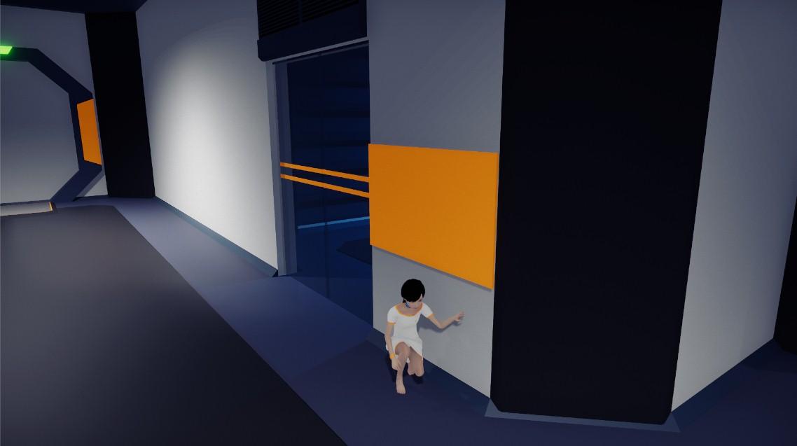 Hand against a wall