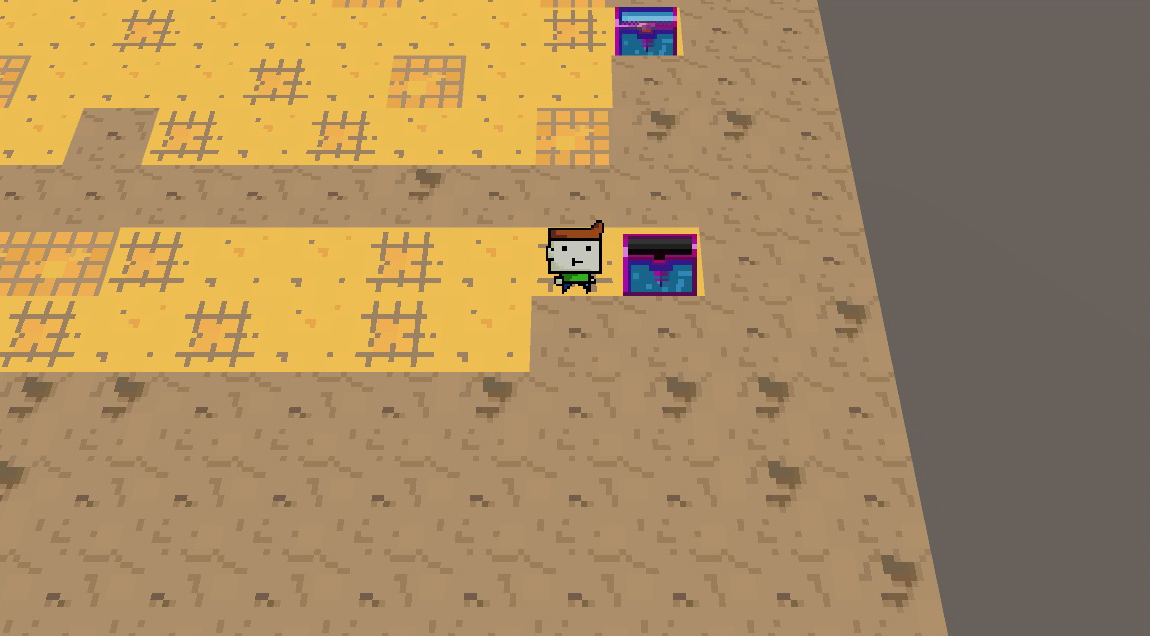 2d world with a chest.