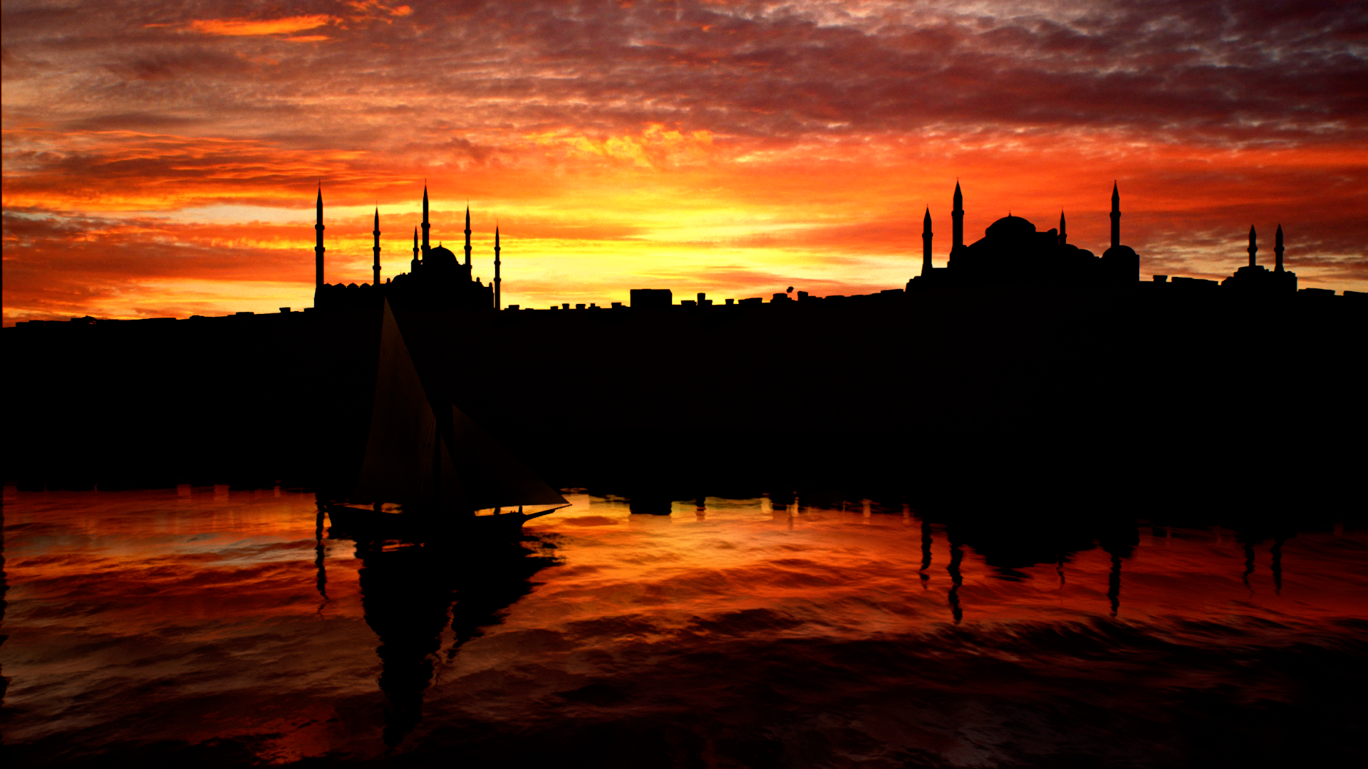 A small ship in Constantinople.