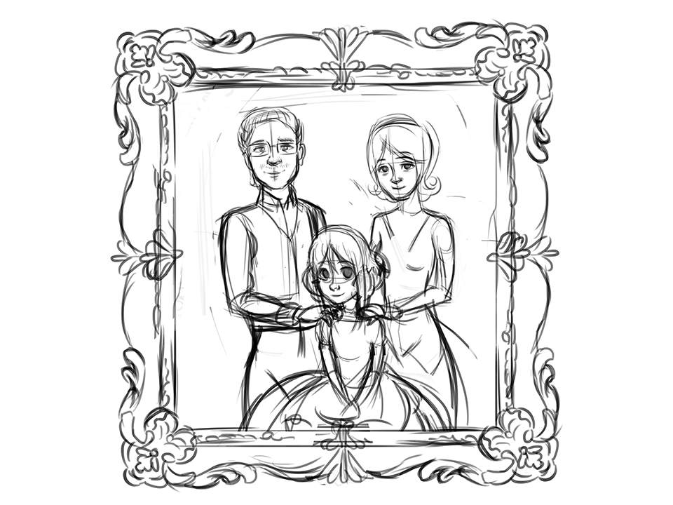 Sketch of Catherine and her family
