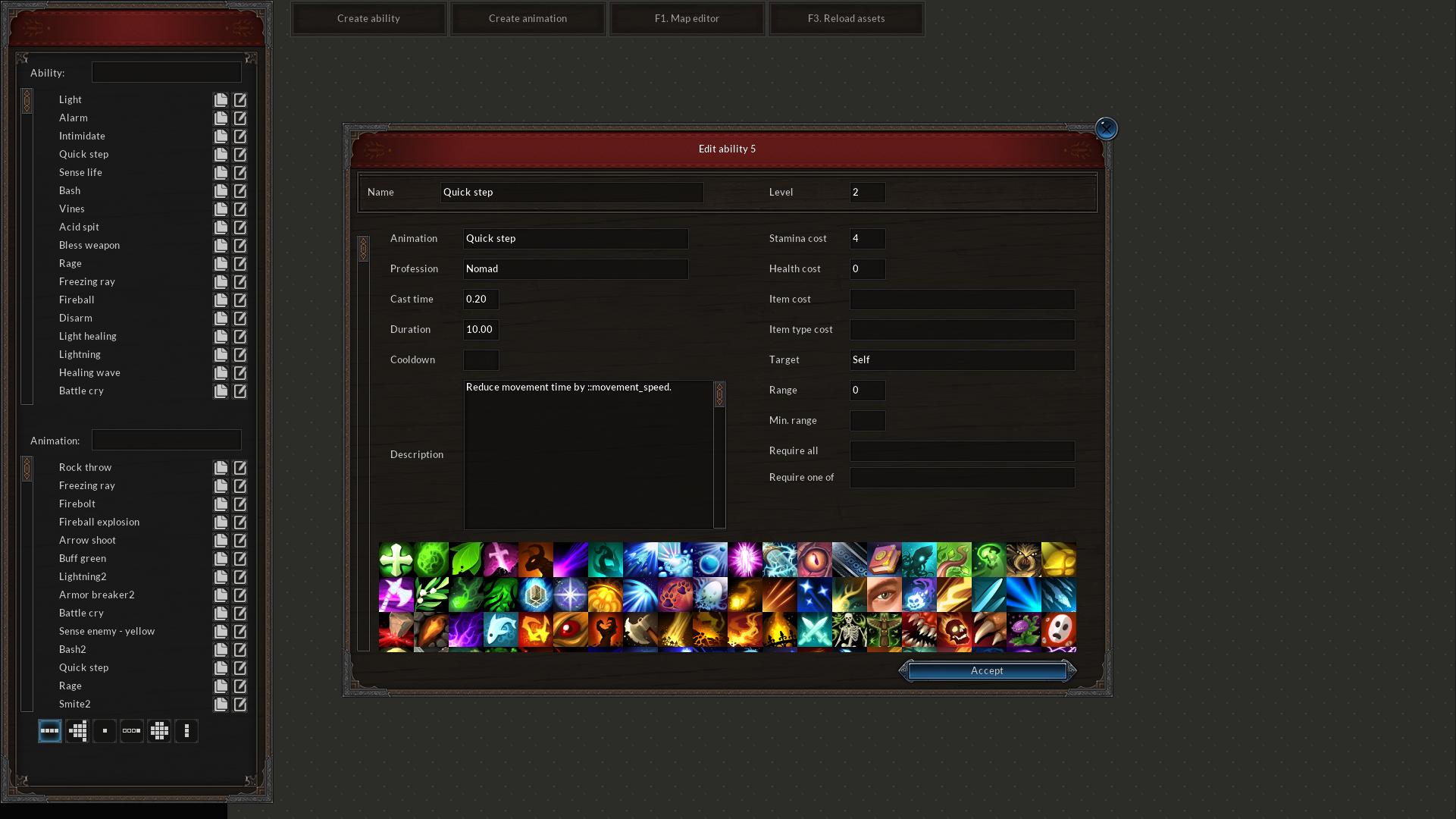Ability Editor allows to create animated abilities