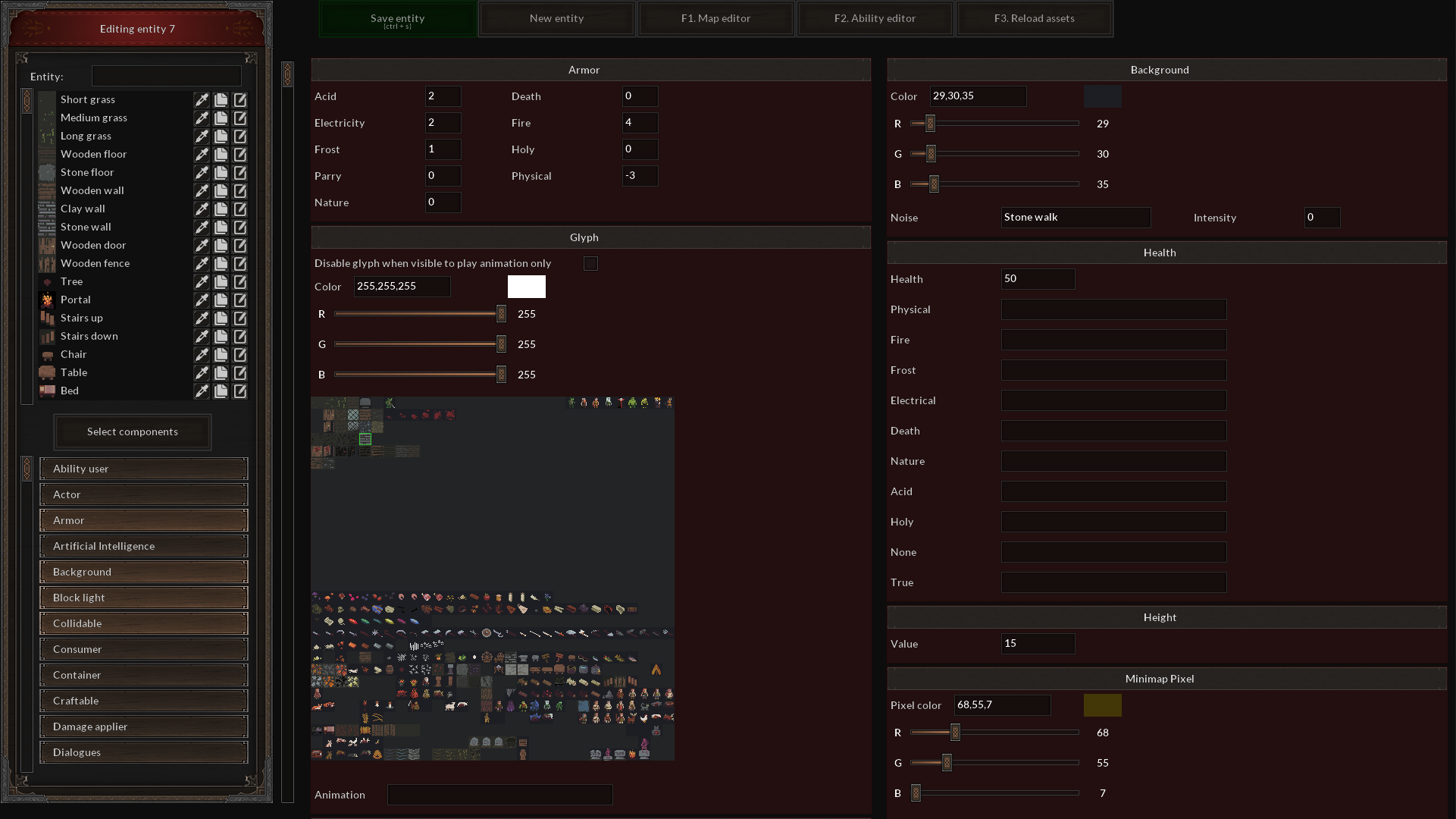 Entity editor allows to quickly create new entities for the game