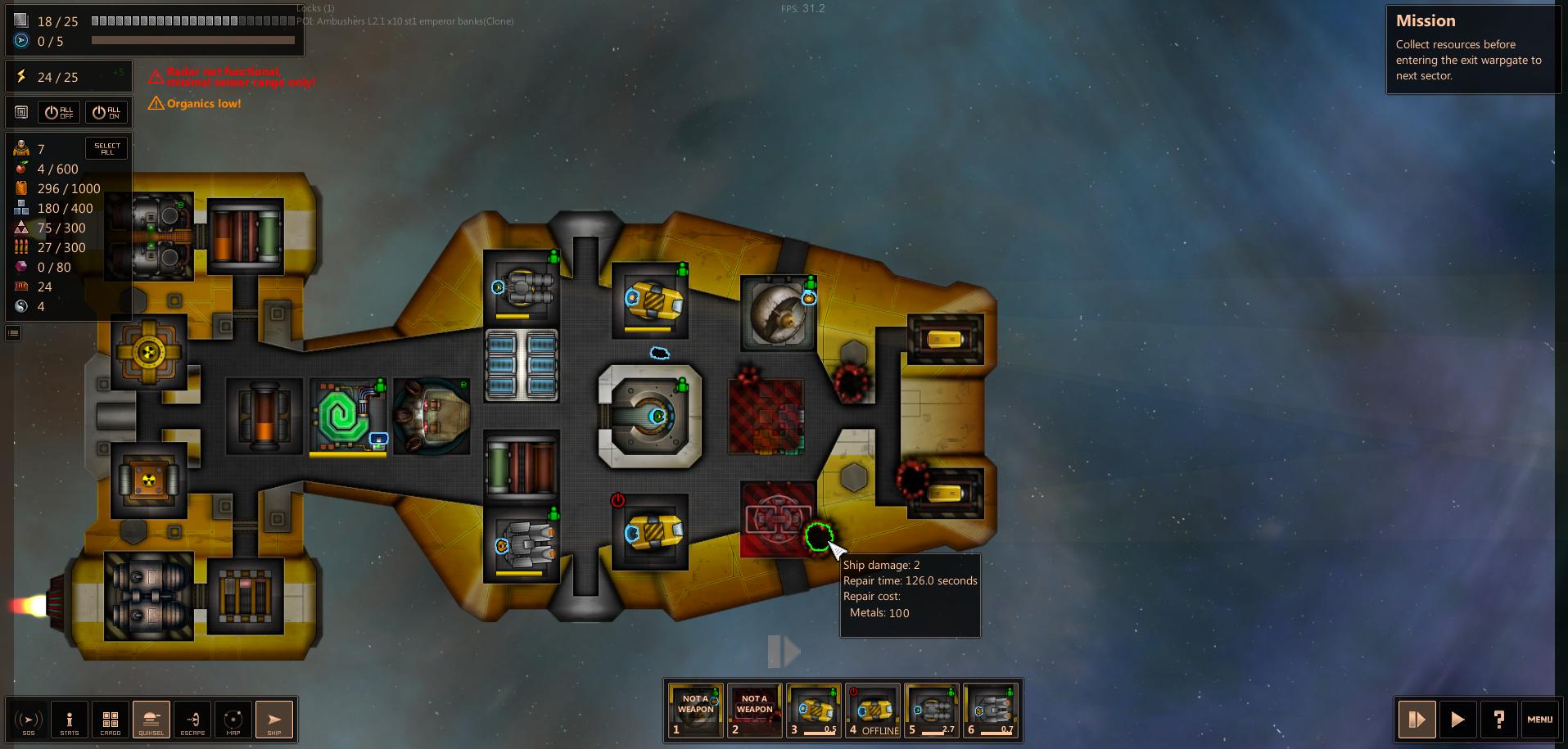 Damage tokens on ship