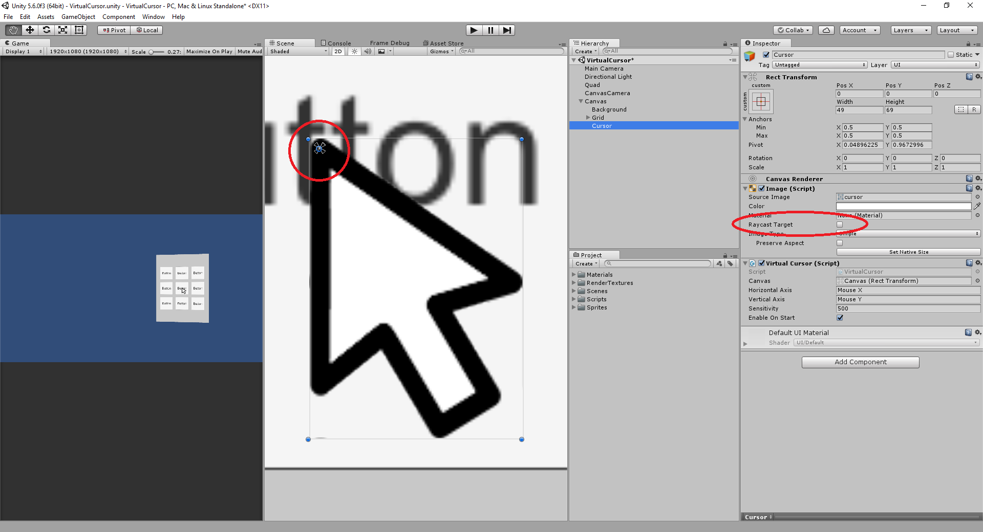 Paralycid - Implementing a virtual cursor with Unity
