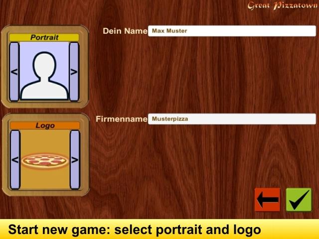 Screen: start a new game