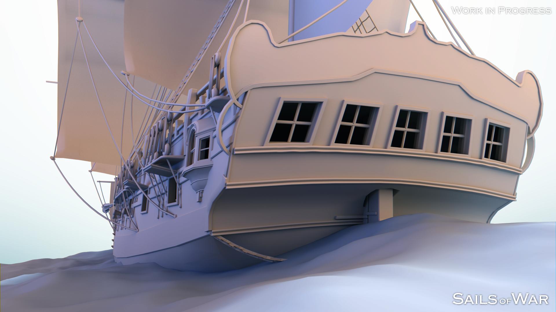 Sails of War Sloop Render