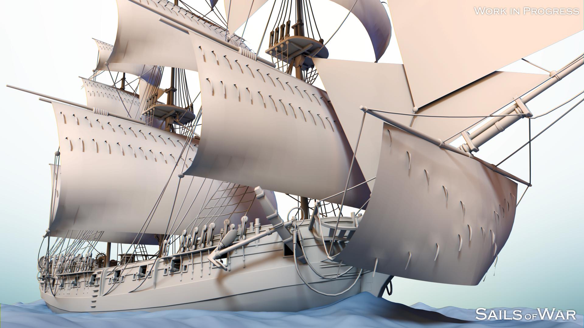 Sails of War - Sloop Clay Render