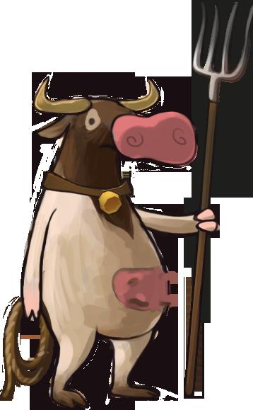 pitchfork cow