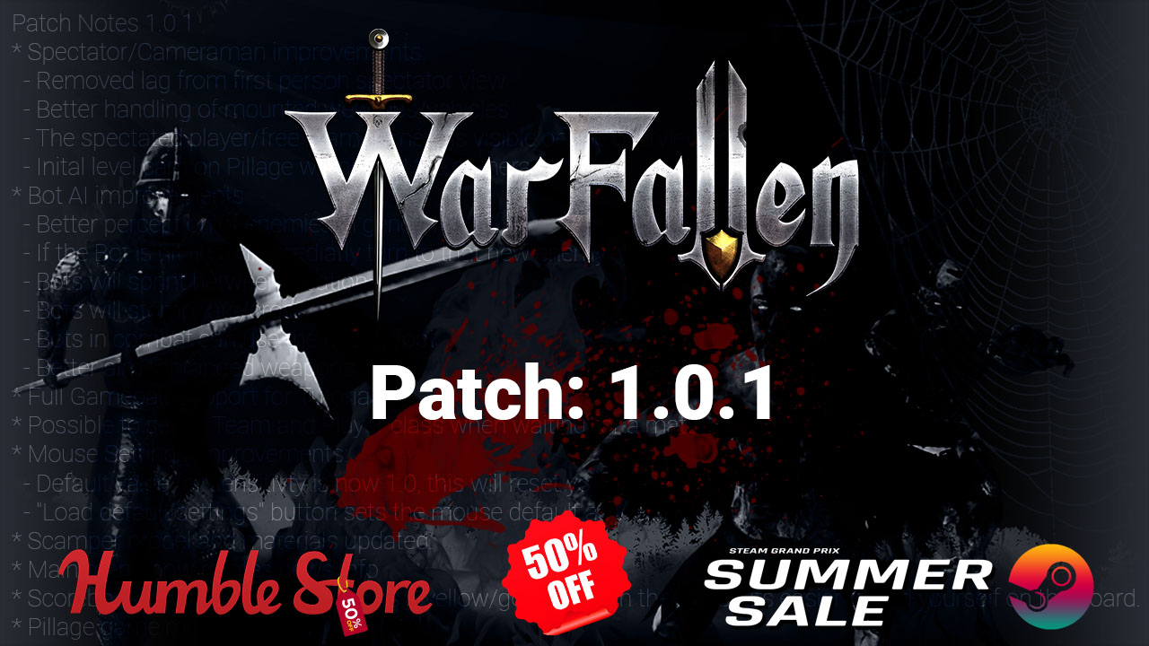 Patch 1.0.1 and 50% sales