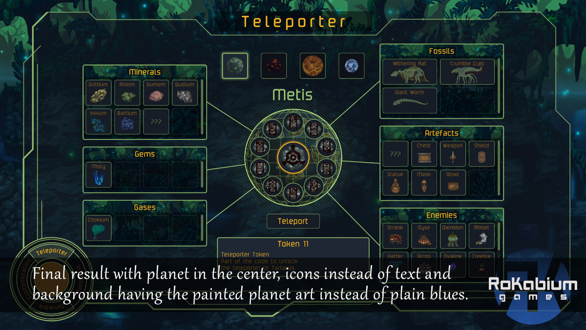 The end result of the current GUI teleporter screen mixing the painterly style with the more retro colours.