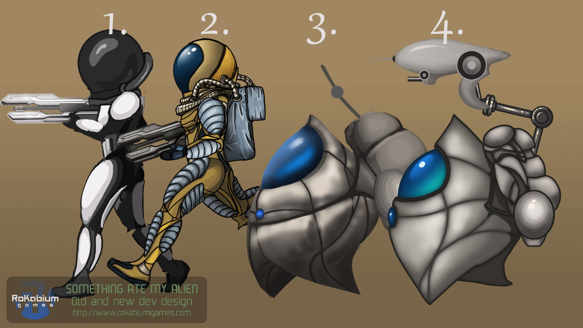 The early idea showing actual humanoid beings in a retro style but was replaced with the more blob like Alien. No 4 is the final result kept in the game.