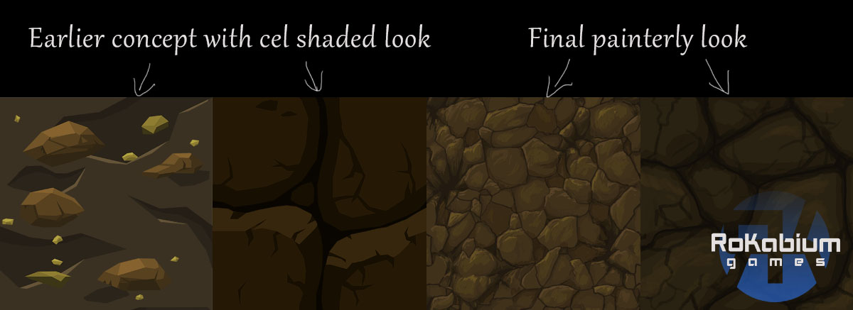 The 2 on the left shows the early cel shaded style and the 2 on the right the final more painted look that we went for in the game.