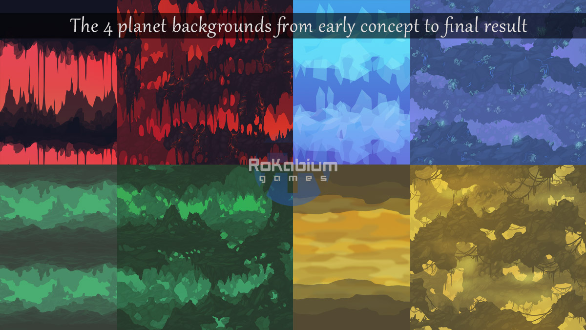 The 4 different cave environments from their earlier simple design concept to fully painted seamless tiling backgrounds.