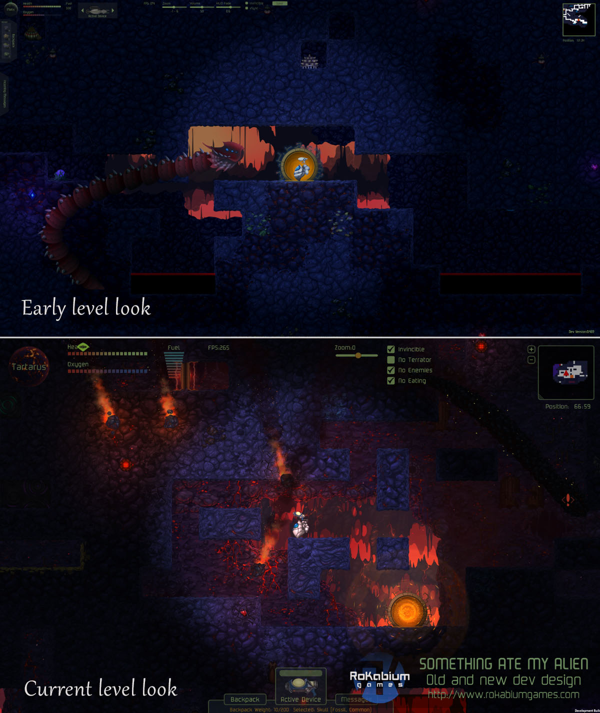 Tartarus as it used to be in the beginning and how it is now with current lighting, background, new alien and improved tiles.