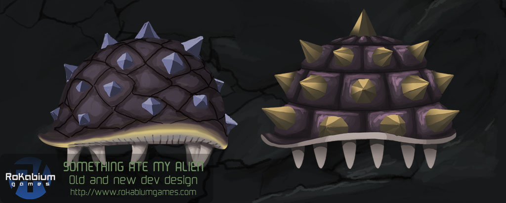 The first concept for the Arrog enemy is on the left and the final look on the right.