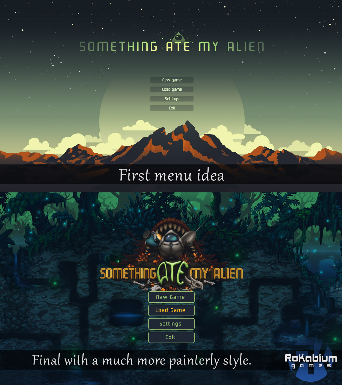 Early and later menu look and design for SAMA.