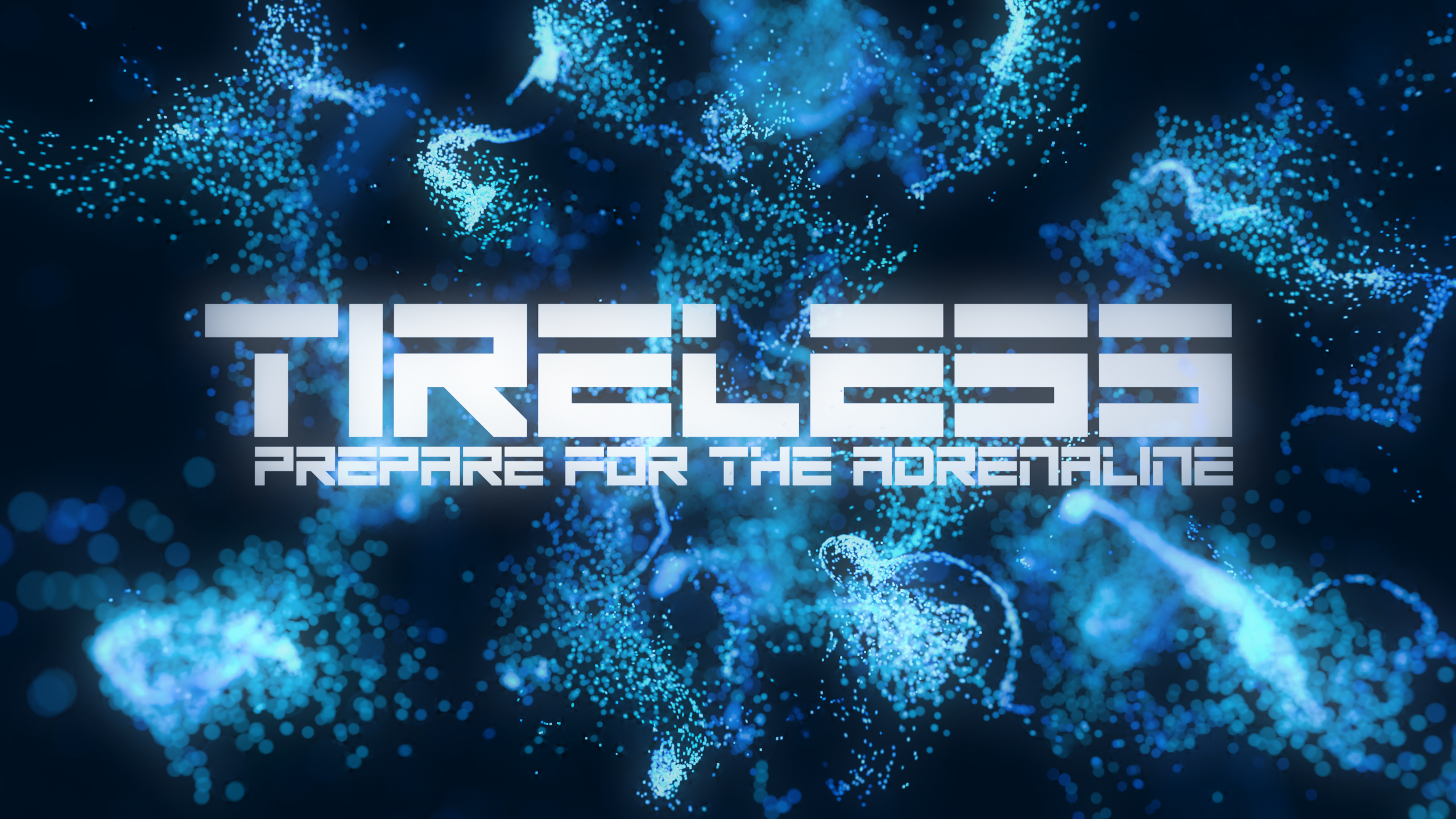 TIRELESS LOGO with Particles Bac