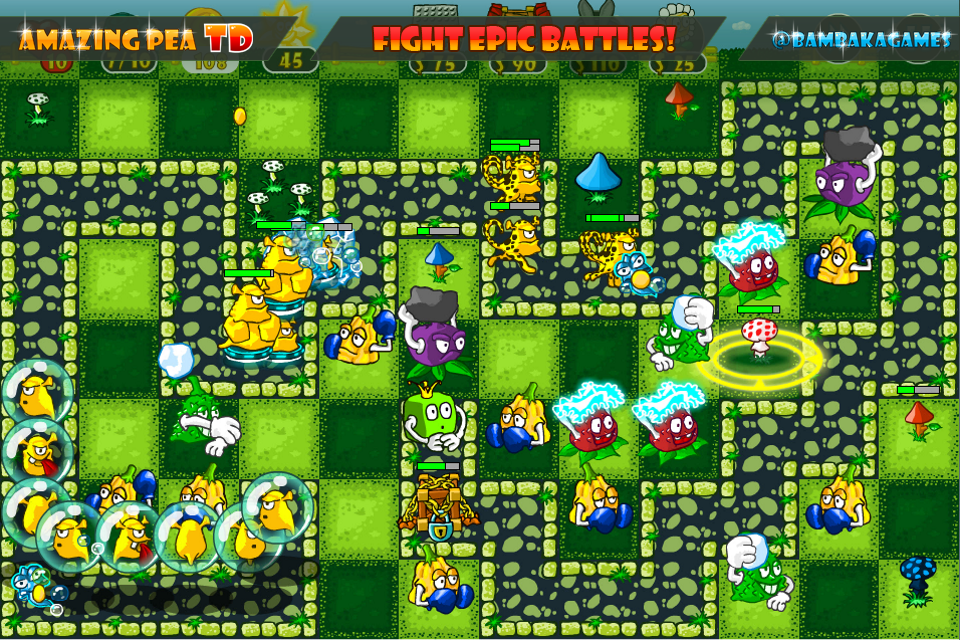 Epic battles in Amazing Pea TD