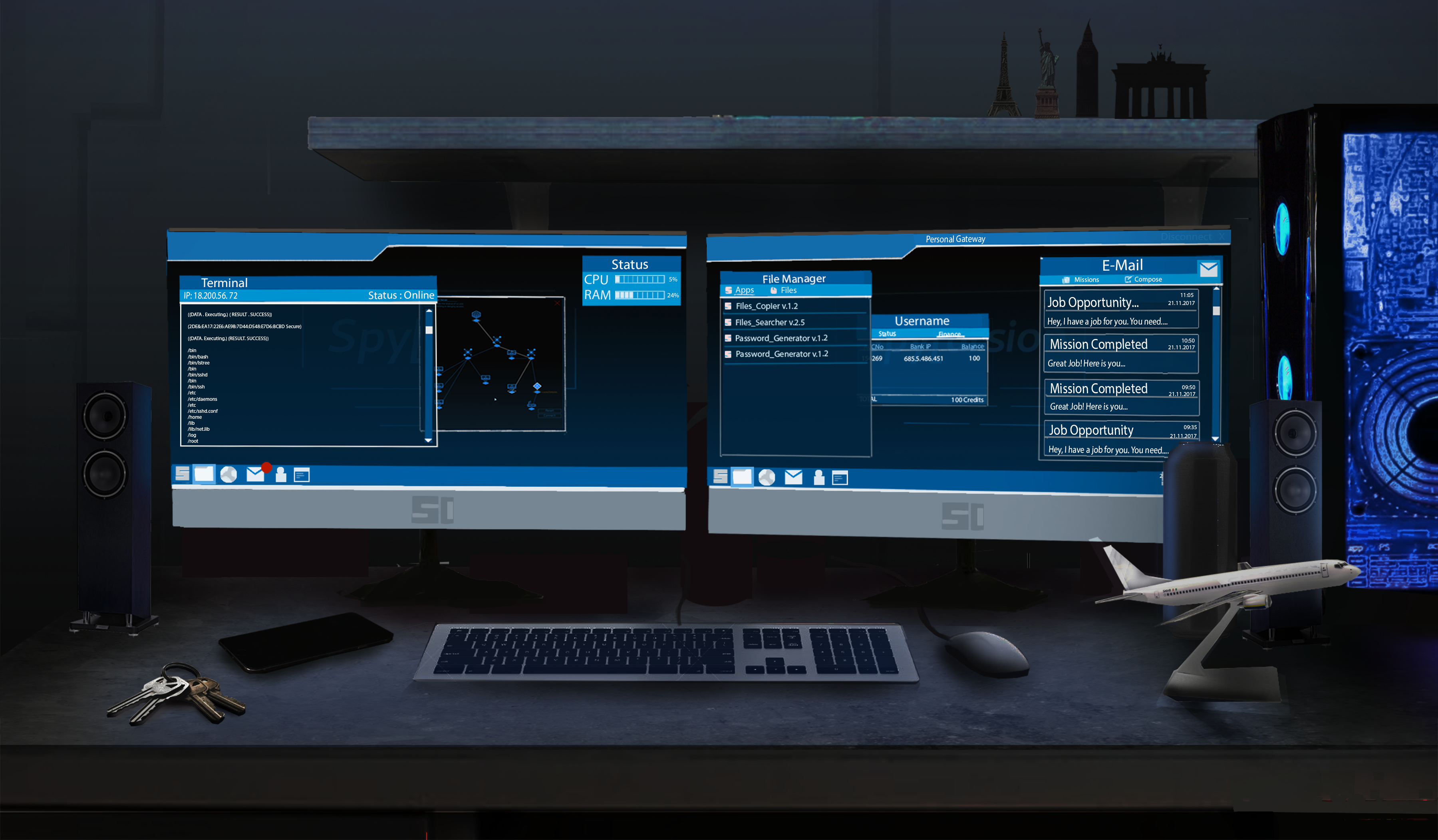 Cyberpunk desk mockup