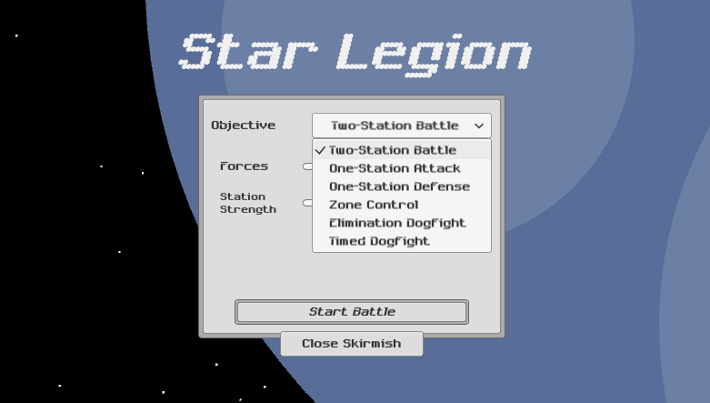 The new Skirmish Menu lists multiple game modes that will be included in Star Legion's desktop release.
