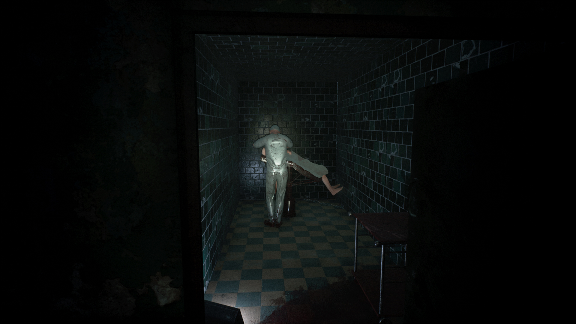 A Mysterious doctor doing his job in an abandoned hallway